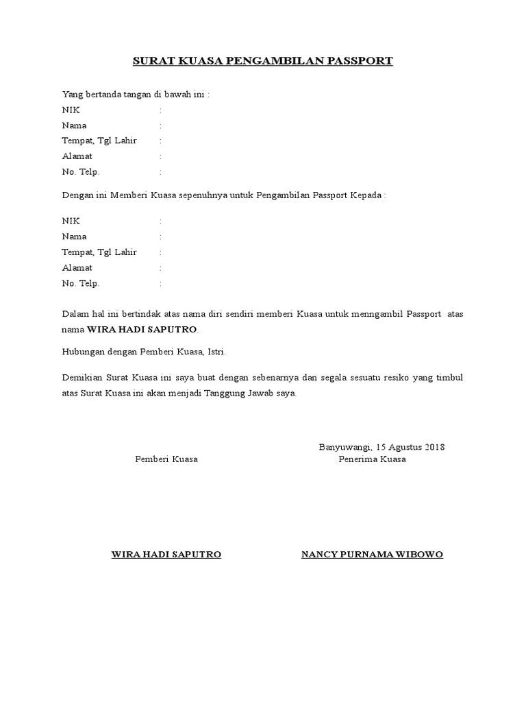 Surat Kuasa Pengambilanpasport