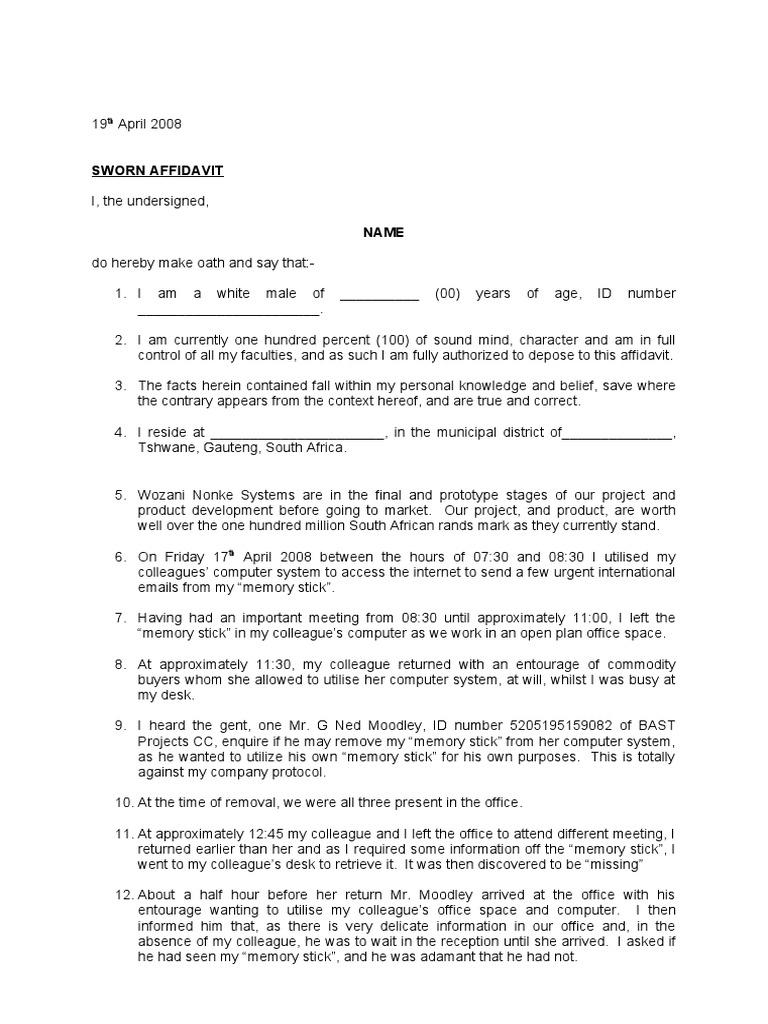 Affidavit template altavistaventures Images