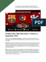 Prediksi Skor Bola Barcelona vs Huesca 2 September 2018