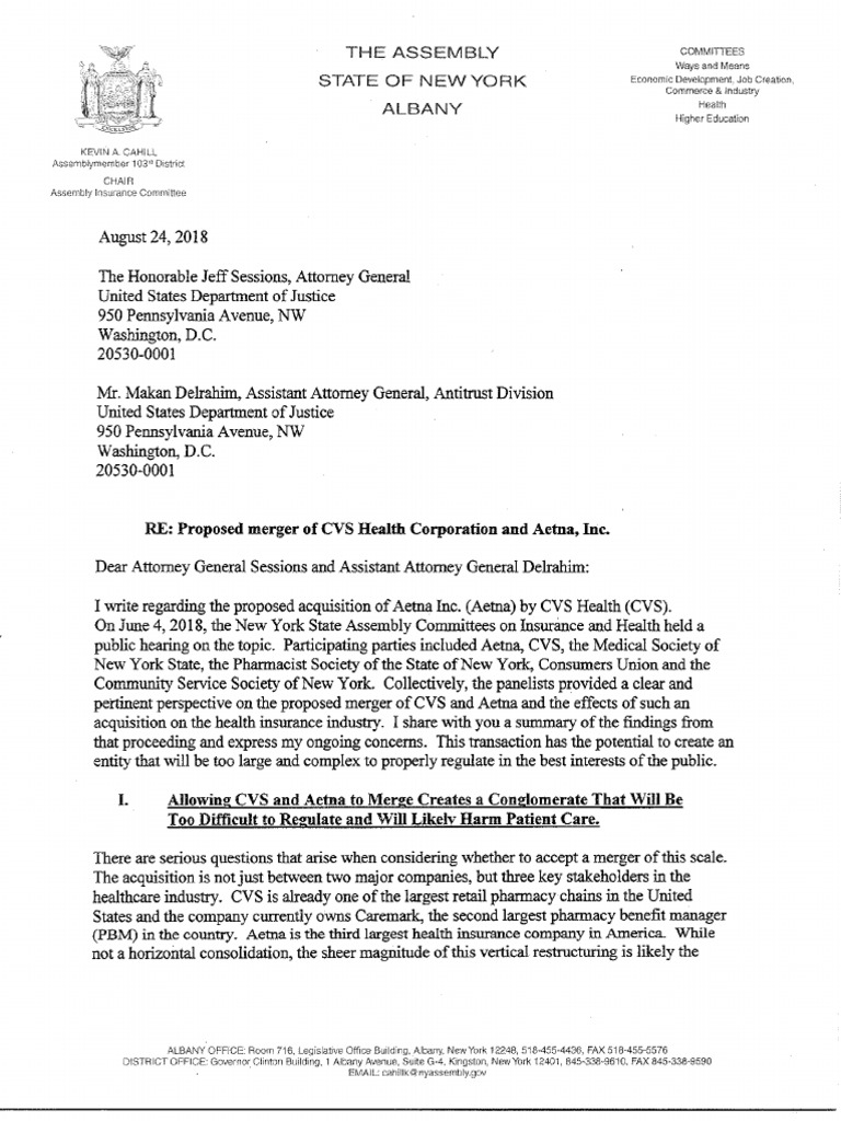assemblyman cahill letter to us department of jusice re cvs aetna merger