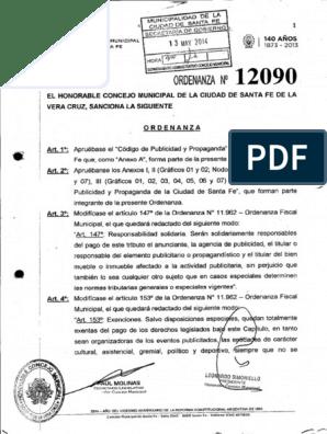 Codigo Publicidad De La Ciudad De Santa Fe Ordenanza 12090