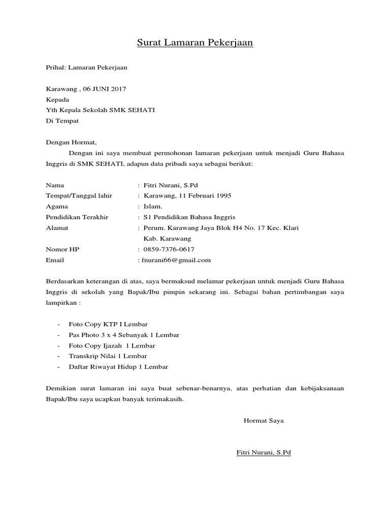 Surat Lamaran Pekerjaandocx