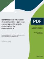 Identificacion e Intercambio de Informacion Sobre Personas Expuestas Politicamente en Los Paises de Centroamerica
