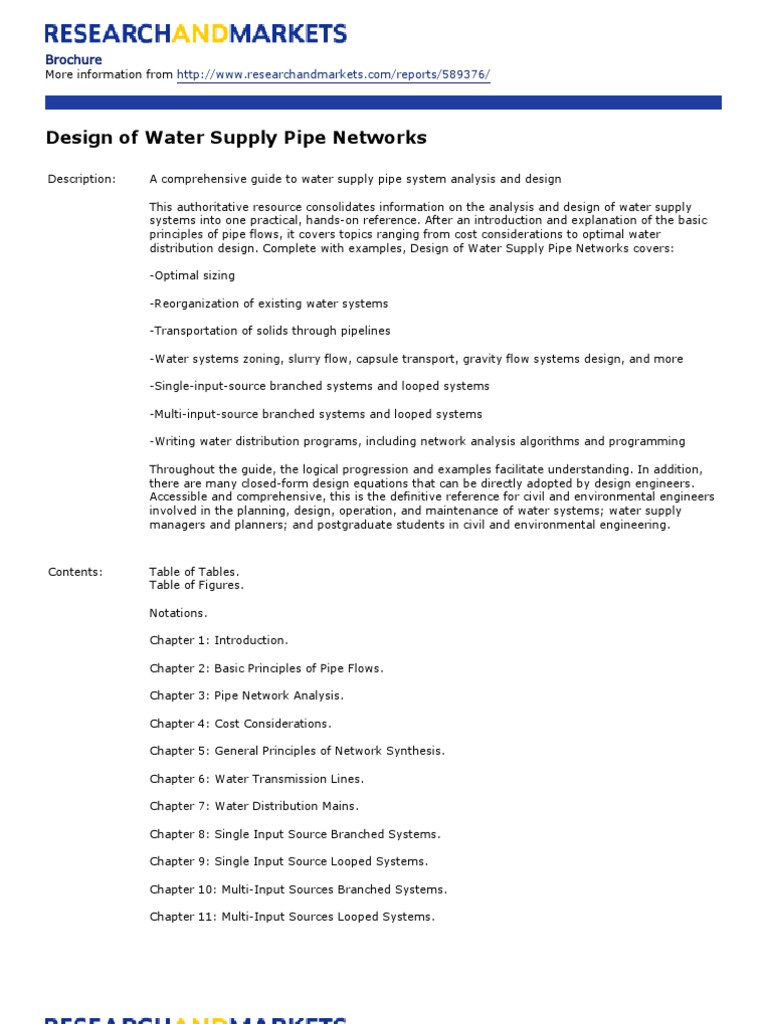 Introduction pipe system - Design Of Water Supply Pipe Networks Water Supply Network Address Geography