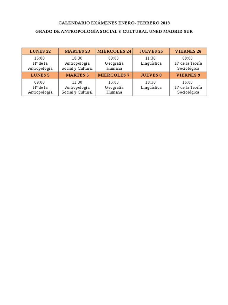 Uned Calendario Examenes.Calendario Examenes Enero Febrero