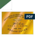 DR.LEOVEANU T.IONUT HORIA-Placheta organizator revedere 20 de ani absolvire medicina Vaile Goldis Arad 1998-2018
