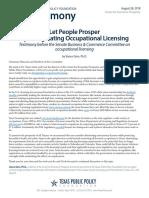 2018 08 Testimony Deregulating Occupational Licensing CEP Ginn