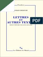 Deleuze  Lettres Et Autres Textes