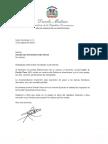 Carta de condolencias del presidente Danilo Medina a Claudia Díaz Hernández viuda Florián por fallecimiento de su esposo, teniente coronel Javier A. Florián Then (ERD)