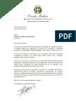 Carta de condolencias del presidente Danilo Medina a Eugenia Fernández viuda Rodríguez por fallecimiento de su esposo, Ramón -Monchy- Rodríguez