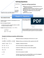 solving equations summary sheet