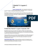Prediksi Real Madrid vs Leganés 2 September 2018