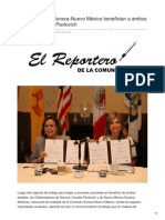 27-08-2018 - Las comisiones Sonora-Nuevo México benefician a ambos estados Claudia Pavlovich - elreporterodelacomunidad