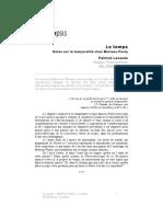 Patrick Leconte - Notes sur la temporalité chez Merleau-Ponty