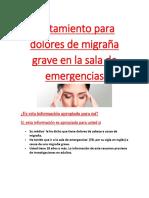 Tratamiento para dolores de migraña grave en la sala de emergencias