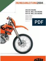 Bedienungsanleitung KTM 250-450-525 EXC -SX -MXC -EXC Racing 2004