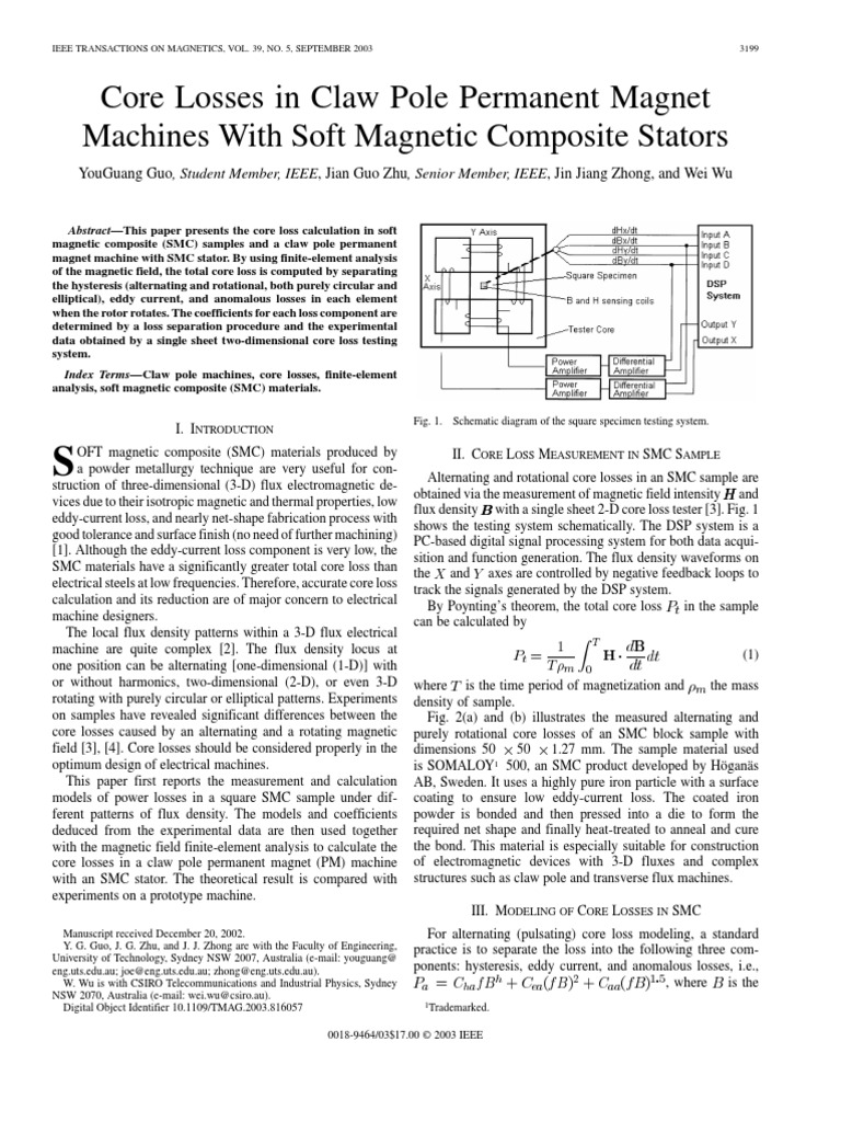 Core Losses In Claw Pole Permanent Magnet Machines With Soft Schematic Magnetic Composite Stators Field Flux