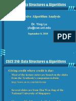 Analysis Re Cursive Algorithm