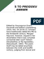 Notes to Preiddeu Annwn