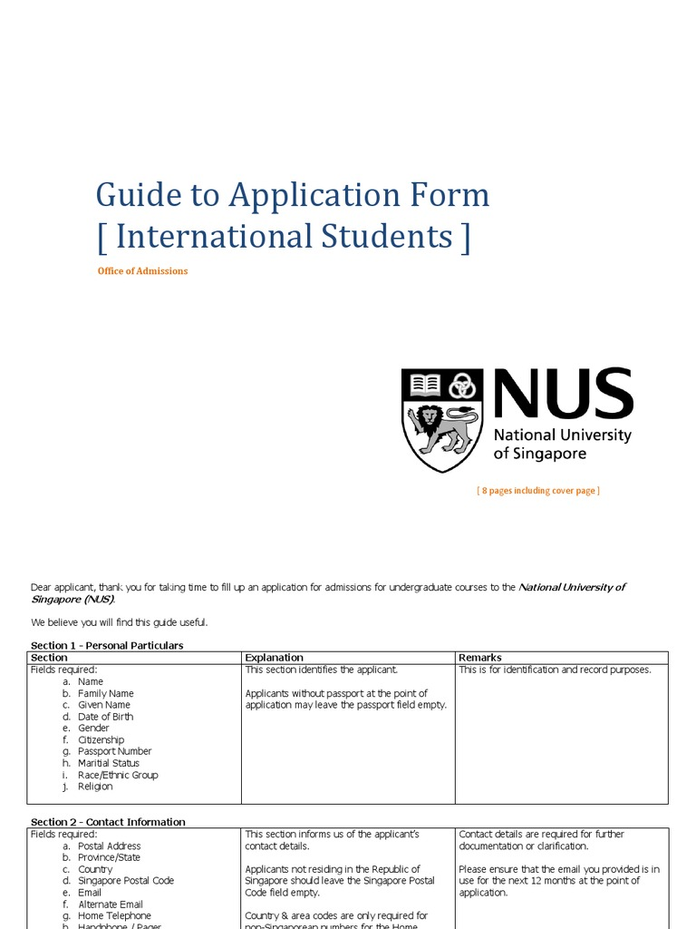 Nus Application Guide University And College Admission