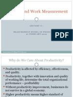 Lecture 3 Measurement Model of Productivity 27 Feb