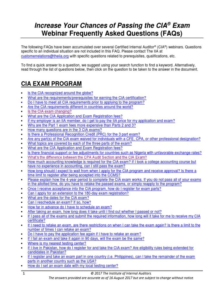 cials faqs updated aug 2017 internal audit test assessment