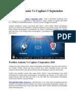 Prediksi Atalanta vs Cagliari 3 September 2018