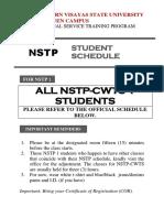 NSTP Schedule Announcement