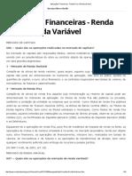 Aplicações Financeiras - Renda Fixa e Renda Variável