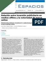 RAI 6. Relación Entre Inversión Publicitaria en Medios Offline y Notoriedad de Marca on Line