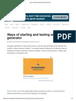 Ways of Starting and Testing Emergency Generator
