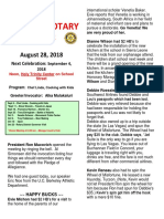 Rotary Newsletter for Aug 28 2018