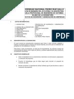 Sílabo Proyectos de Inversión y Generación de Empresas 2018-I - Otake
