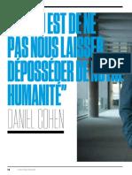 Daniel Cohen '' L'enjeu est de ne pas nous laisser déposséder de notre humanité'' L'Obs 2018 08 29