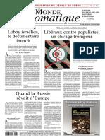 S Halimi, P Rimbert ''Libéraux contre populistes, un clivage trompeur'' Monde Diplo Sept 2018