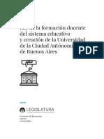 Propuesta de Ley de la formación docente del sistema educativo y creación UniCABA