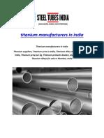 Titanium Manufacturers in India