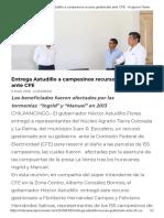 05-03-2018 Entrega Astudillo a Campesinos Recurso Gestionado Ante CFE.