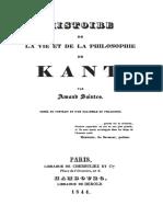 Amand Saintes, Histoire de la vie et de la philosophie de Kant, Paris, Cherbuliez et Cie, 1844