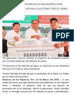 22-03-2018 Guerrero No Se Detiene en Su Reconstrucción; Supervisa Héctor Astudillo Acciones Tras El Sismo en Huitzuco.
