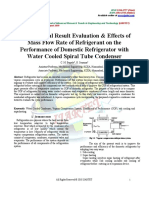 Experimental Result Evaluation & Effects of Mass Flow Rate of Refrigerant on the Performance of Domestic Refrigerator With Water Cooled Spiral Tube Condenser