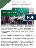 22-03-2018 Inaugura Astudillo Remodelación de Las Instalaciones de La Terminal Estrella de Oro en Chilpancingo.