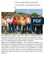 25-03-2018 Obras Carreteras Por 330 Mdp Para La Montaña, Anuncia Astudillo e Inaugura La Segunda Etapa de La Vía Tlapa-Cuálac.