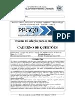 Prova Mestrado PPGQB 2018.1