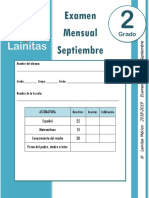 Septiembre - 2do Grado - Examen Mensual (2018-2019)
