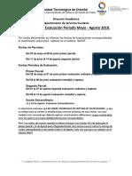 Fechas de Configuración de Evaluación Mayo - Agosto 2018