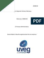 Desarrollado La Filosofía Organizacional de Una Empresa. Alejandro Pacheco