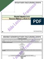 Actividad Integradora 5 de 6 - Operaciones Algebraicas y Solución de Problemas - Módulo 11 - Prepa en línea - SEP