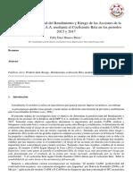 Análisis y Predictividad Del Rendimiento y Riesgo de Las Acciones de La Empresa ALICORP S