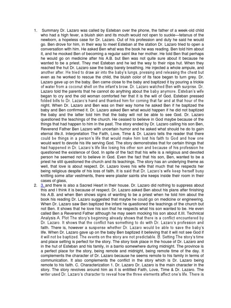 faith love time and dr lazaro summary